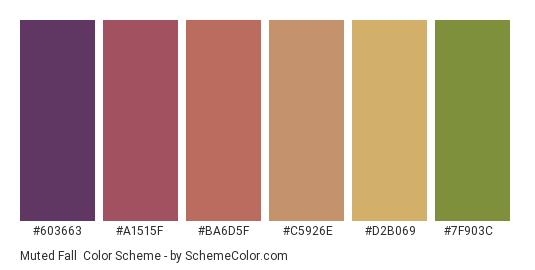Muted Fall - Color scheme palette thumbnail - #603663 #a1515f #ba6d5f #c5926e #d2b069 #7f903c