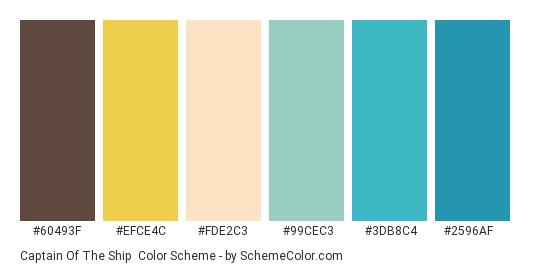 Captain of the Ship - Color scheme palette thumbnail - #60493f #efce4c #fde2c3 #99cec3 #3db8c4 #2596af