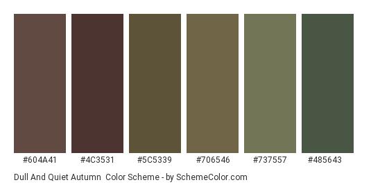 Dull and Quiet Autumn - Color scheme palette thumbnail - #604a41 #4c3531 #5c5339 #706546 #737557 #485643