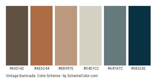 Vintage Barricade - Color scheme palette thumbnail - #605142 #ae6c44 #bb997e #d4d1c2 #647a7c #083242