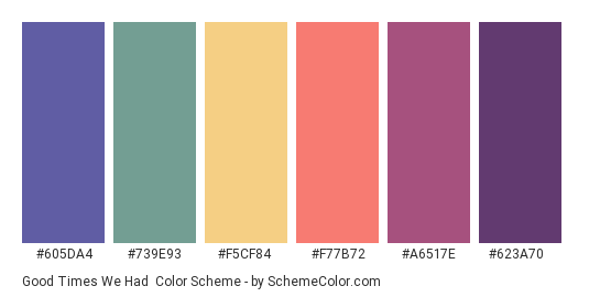 Good Times We Had - Color scheme palette thumbnail - #605DA4 #739E93 #F5CF84 #F77B72 #A6517E #623A70