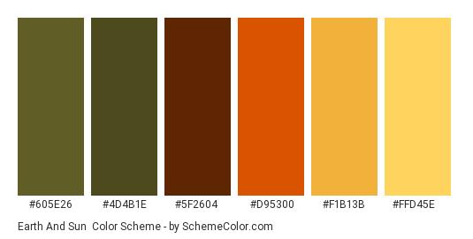 Earth and Sun - Color scheme palette thumbnail - #605E26 #4D4B1E #5F2604 #D95300 #F1B13B #FFD45E