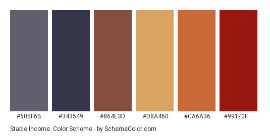 Stable Income - Color scheme palette thumbnail - #605f6b #343549 #864e3d #d8a460 #ca6a36 #99170f