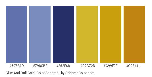 Blue and Dull Gold - Color scheme palette thumbnail - #6072ad #798cbe #262f68 #d2b72d #c99f0e #c08411