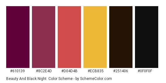 Beauty and Black Night - Color scheme palette thumbnail - #610139 #8c2e4d #d04d4b #ecb835 #251406 #0f0f0f