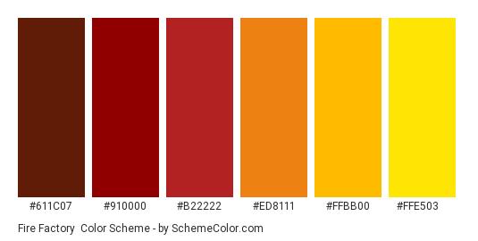 Fire Factory - Color scheme palette thumbnail - #611C07 #910000 #B22222 #ED8111 #FFBB00 #FFE503
