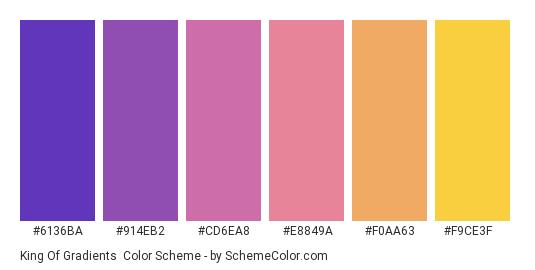 King of Gradients - Color scheme palette thumbnail - #6136ba #914eb2 #cd6ea8 #e8849a #f0aa63 #f9ce3f