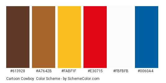 Cartoon Cowboy - Color scheme palette thumbnail - #613928 #a7642b #fabf1f #e30715 #fbfbfb #0060a4
