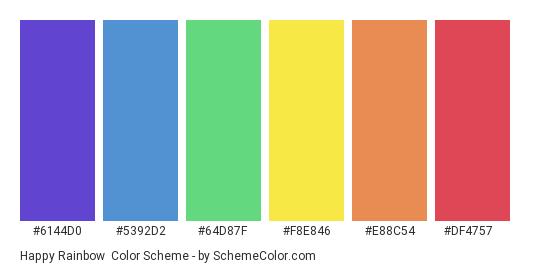 Happy Rainbow - Color scheme palette thumbnail - #6144d0 #5392d2 #64d87f #f8e846 #e88c54 #df4757
