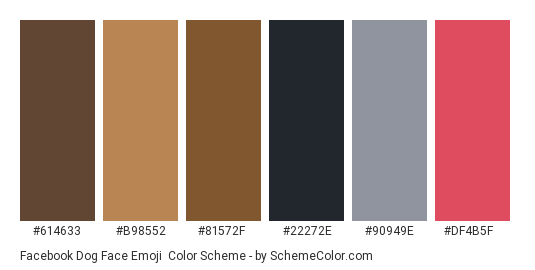 Facebook Dog Face Emoji - Color scheme palette thumbnail - #614633 #b98552 #81572f #22272e #90949e #df4b5f