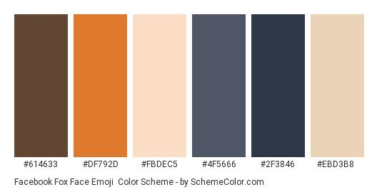 Facebook Fox Face Emoji - Color scheme palette thumbnail - #614633 #df792d #fbdec5 #4f5666 #2f3846 #ebd3b8