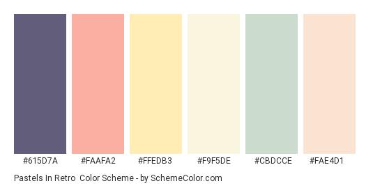 Pastels in Retro - Color scheme palette thumbnail - #615d7a #faafa2 #ffedb3 #f9f5de #cbdcce #fae4d1