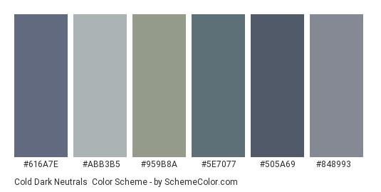 Cold Dark Neutrals - Color scheme palette thumbnail - #616a7e #abb3b5 #959b8a #5e7077 #505a69 #848993
