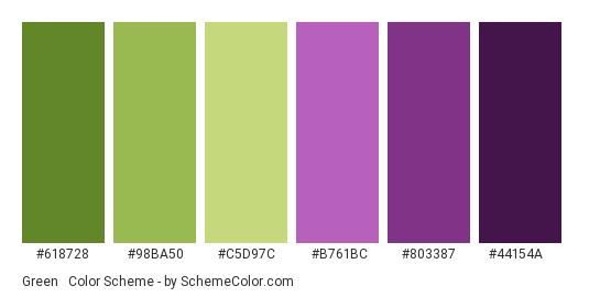 Green & Purple - Color scheme palette thumbnail - #618728 #98ba50 #c5d97c #b761bc #803387 #44154a