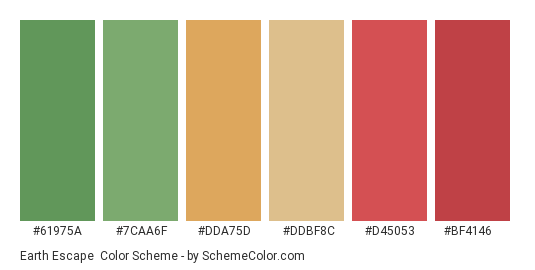 Earth Escape - Color scheme palette thumbnail - #61975a #7caa6f #dda75d #ddbf8c #d45053 #bf4146