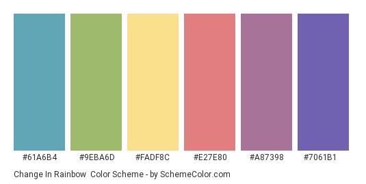 Change in Rainbow - Color scheme palette thumbnail - #61a6b4 #9eba6d #fadf8c #e27e80 #a87398 #7061b1