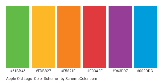 Apple Old Logo - Color scheme palette thumbnail - #61bb46 #fdb827 #f5821f #e03a3e #963d97 #009ddc