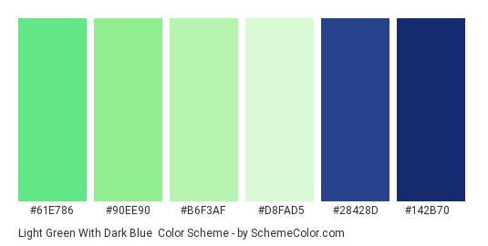 Light Green with Dark Blue - Color scheme palette thumbnail - #61e786 #90ee90 #b6f3af #d8fad5 #28428d #142b70