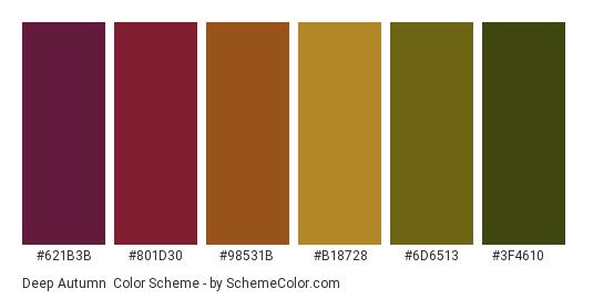 Deep Autumn - Color scheme palette thumbnail - #621b3b #801d30 #98531b #b18728 #6d6513 #3f4610
