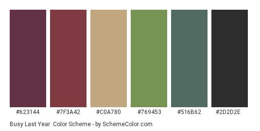 Busy Last Year - Color scheme palette thumbnail - #623144 #7f3a42 #c0a780 #769453 #516b62 #2d2d2e