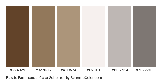 Rustic Farmhouse - Color scheme palette thumbnail - #624329 #92785b #ac957a #f6f0ee #beb7b4 #7e7773
