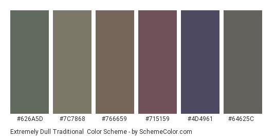 Extremely Dull Traditional - Color scheme palette thumbnail - #626a5d #7c7868 #766659 #715159 #4d4961 #64625c
