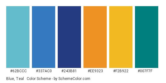 Blue, Teal & Orange - Color scheme palette thumbnail - #62bccc #337ac0 #243b81 #ee9323 #f2b922 #007f7f