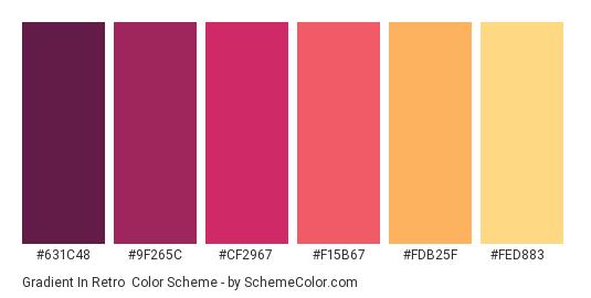 Gradient in Retro - Color scheme palette thumbnail - #631C48 #9F265C #CF2967 #F15B67 #FDB25F #FED883