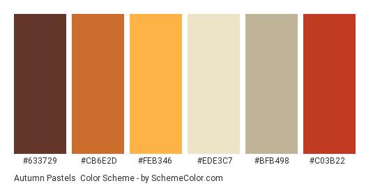 Autumn Pastels - Color scheme palette thumbnail - #633729 #cb6e2d #FeB346 #ede3c7 #bfb498 #c03b22