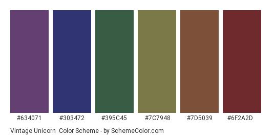 Vintage Unicorn - Color scheme palette thumbnail - #634071 #303472 #395c45 #7c7948 #7d5039 #6f2a2d