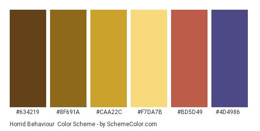 Horrid Behaviour - Color scheme palette thumbnail - #634219 #8f691a #caa22c #f7da7b #bd5d49 #4d4986