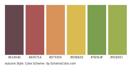 Autumn Style - Color scheme palette thumbnail - #63494d #a95754 #d79359 #d9bb50 #7b9e4f #9cb051