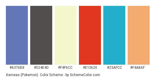 Xerneas (Pokemon) - Color scheme palette thumbnail - #6376b8 #524e4d #f4f6cc #e13620 #23afcc #f4ab6f