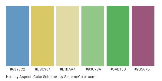 Holiday Aspect - Color scheme palette thumbnail - #6398c2 #d8c964 #e1daa4 #93c78a #5ab15d #9b567b