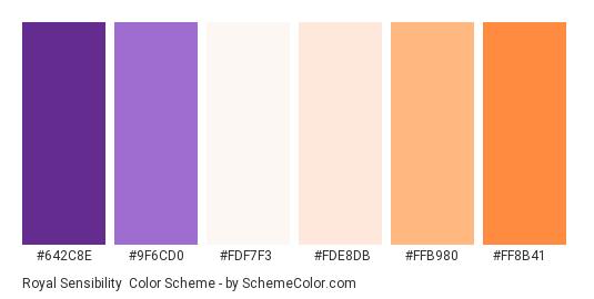 Royal Sensibility - Color scheme palette thumbnail - #642C8E #9F6CD0 #FDF7F3 #FDE8DB #FFB980 #FF8B41