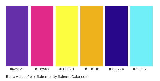 Retro Voice - Color scheme palette thumbnail - #642fa8 #e02988 #fcfd40 #eeb31b #28078a #71eff9