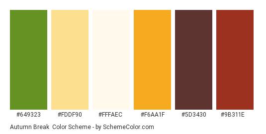 Autumn Break - Color scheme palette thumbnail - #649323 #fddf90 #fffaec #f6aa1f #5d3430 #9b311e