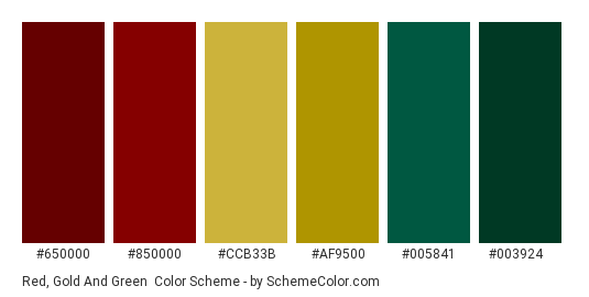 Red, Gold and Green - Color scheme palette thumbnail - #650000 #850000 #ccb33b #af9500 #005841 #003924