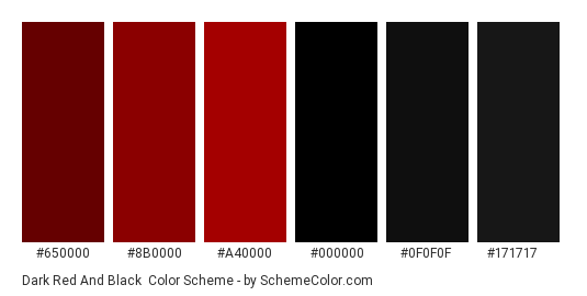Dark Red and Black - Color scheme palette thumbnail - #650000 #8b0000 #a40000 #000000 #0f0f0f #171717