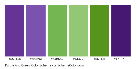 Purple and Green - Color scheme palette thumbnail - #653496 #7b52ae #74b652 #94c773 #56941e #471871