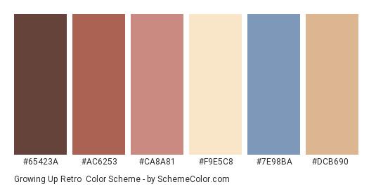 Growing Up Retro - Color scheme palette thumbnail - #65423a #ac6253 #ca8a81 #f9e5c8 #7e98ba #dcb690