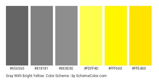 Gray with Bright Yellow - Color scheme palette thumbnail - #656565 #818181 #8e8e8e #fdff4d #fff600 #ffe400