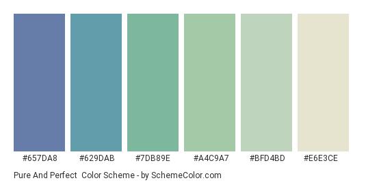 Pure and Perfect - Color scheme palette thumbnail - #657da8 #629dab #7db89e #a4c9a7 #bfd4bd #e6e3ce
