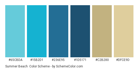 Summer Beach Color Scheme Palette Thumbnail 65cbda 15b2d1 236e95 1d5171