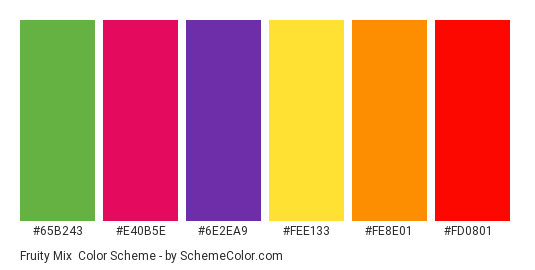 Fruity Mix - Color scheme palette thumbnail - #65b243 #e40b5e #6e2eA9 #fee133 #fe8e01 #fd0801