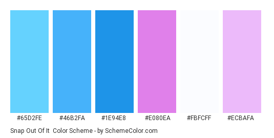Snap Out of It - Color scheme palette thumbnail - #65d2fe #46b2fa #1e94e8 #e080ea #fbfcff #ecbafa
