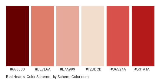 Red Hearts - Color scheme palette thumbnail - #660000 #de7e6a #e7a999 #f2ddcd #d6524a #b31a1a