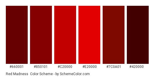 Red Madness - Color scheme palette thumbnail - #660001 #850101 #C20000 #E20000 #7C0A01 #420000