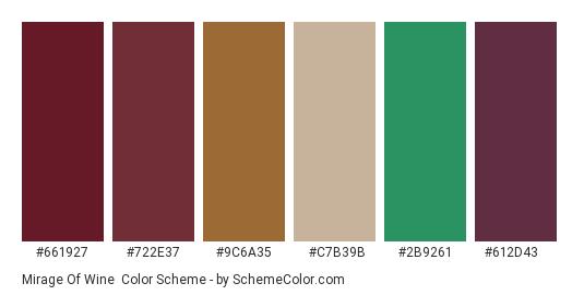 Mirage of Wine - Color scheme palette thumbnail - #661927 #722e37 #9c6a35 #c7b39b #2b9261 #612d43