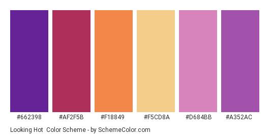 Looking Hot - Color scheme palette thumbnail - #662398 #af2f5b #f18849 #f5cd8a #d684bb #a352ac